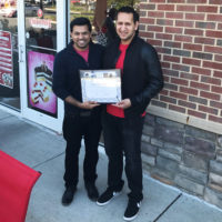 The ribbon cutting a Cold Stone Creamery Franchise in Dunkirk, MD in May 2017 Saif Shah (left) and Numaan Shah (right)